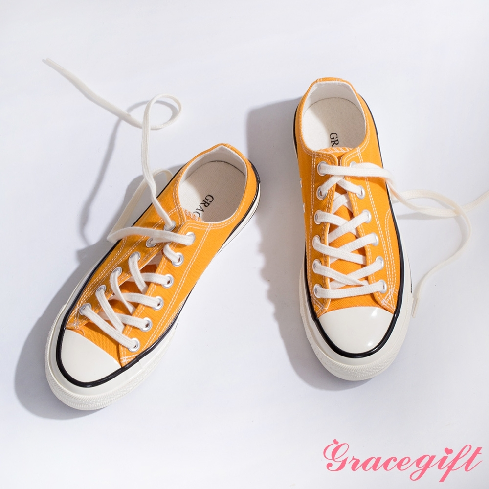 Grace gift-微厚底車線綁帶帆布鞋 黃
