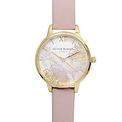 Olivia Burton 英倫復古手錶 抽象花卉浮雕 玫瑰粉色真皮錶帶金框30mm