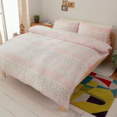 Goelia 甜蜜花語-橘 絲緞加大四件式鋪棉兩用被床包組