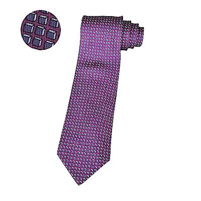 HERMES愛馬仕經典緹花LOGO紫立方格設計蠶絲領帶(香檳紫)