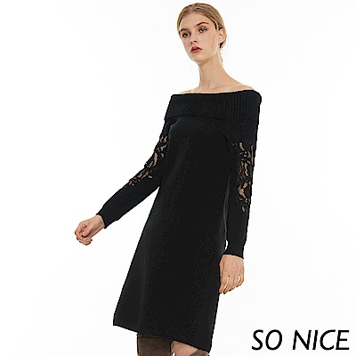 SO NICE俏麗翻領蕾絲拼接針織洋裝