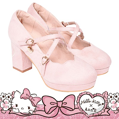 HELLO KITTY X Ann'S LADY美人交叉單色刺繡花瓣娃娃粗跟鞋-粉