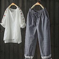 格子休閒寬鬆繫帶拼接束腳九分褲-設計所在