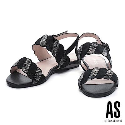 涼鞋 AS 麻花造型漸層水鑽羊皮粗低跟涼鞋-黑