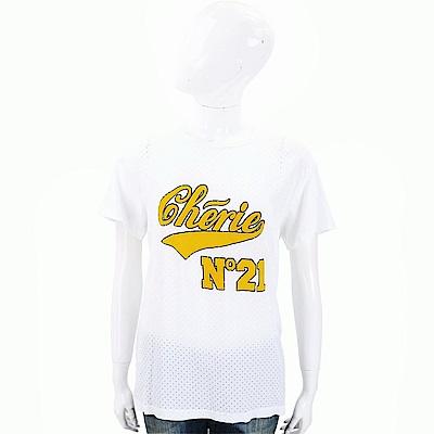 N° 21 字母LOGO白色洞洞棉質T恤
