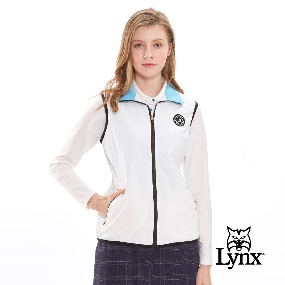 【Lynx Golf】女款瑞士3X DRY吸濕速乾防潑水無袖鋪棉背心-牙白色