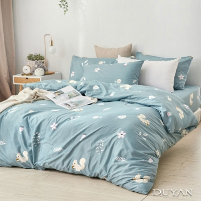 DUYAN竹漾  舒柔棉-雙人床包兩用被套四件組-日向草原