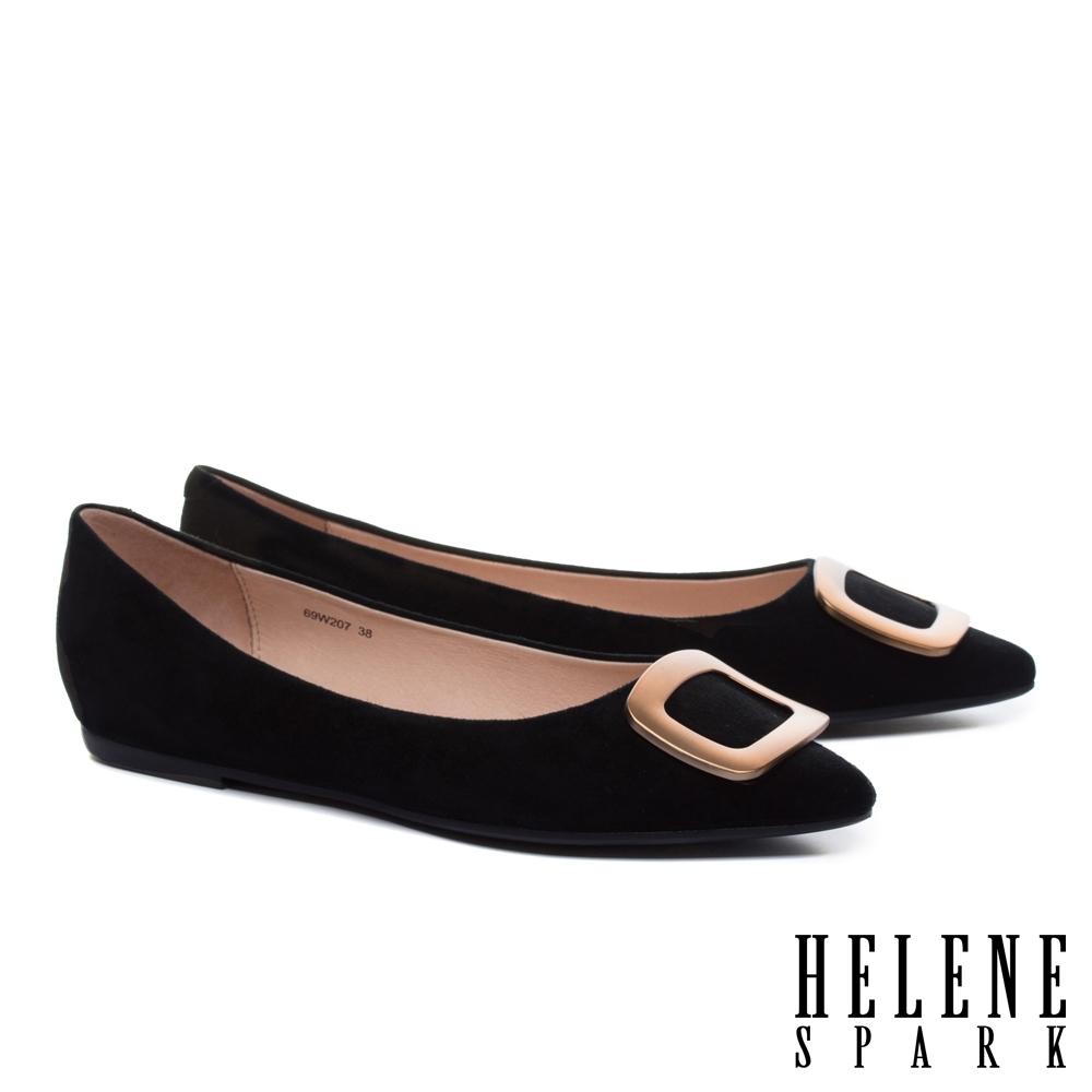 平底鞋 HELENE SPARK 時尚質感茶金方釦全真皮尖頭平底鞋-黑
