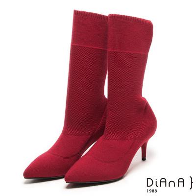 DIANA 街頭時尚--完美視覺針織舒適襪靴 - 紅