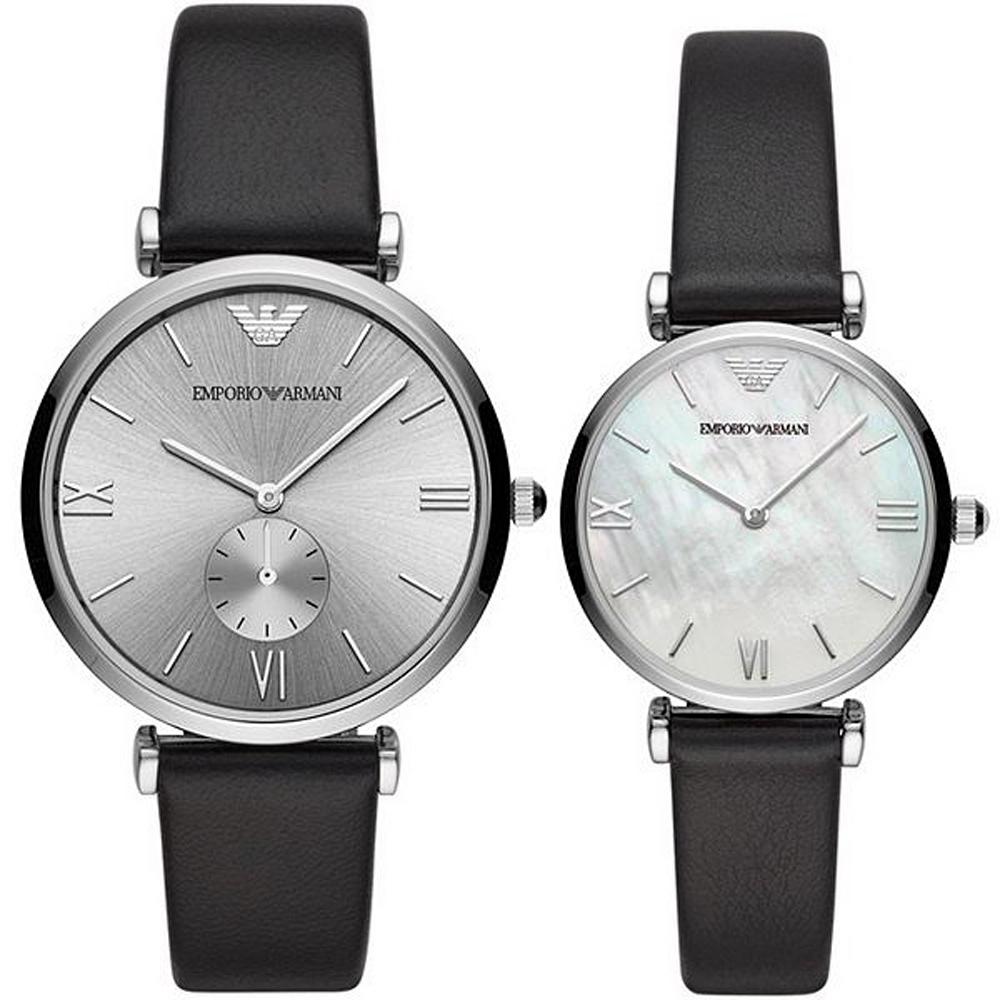 Emporio Armani 亞曼尼 風尚情人對錶手錶組(AR90003)-40/32mm