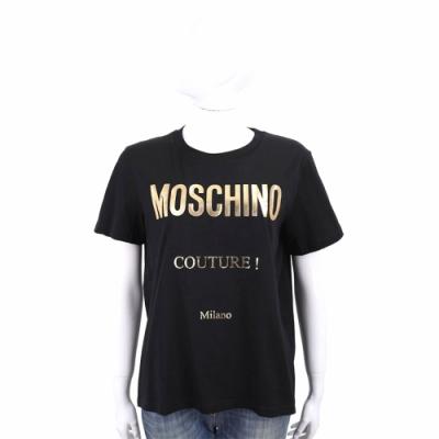 MOSCHINO LOGO 燙金字母黑色棉質T恤