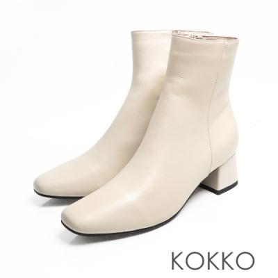 KOKKO -經典方頭粗跟靴-小白