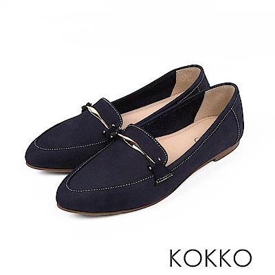 KOKKO - 男朋友風潮真皮尖頭休閒鞋 - 莫藍迪