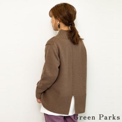 Green Parks 後開叉拼接設計針織上衣