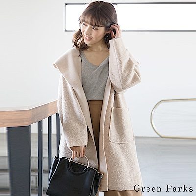 Green Parks 俐落起毛長版連帽大衣