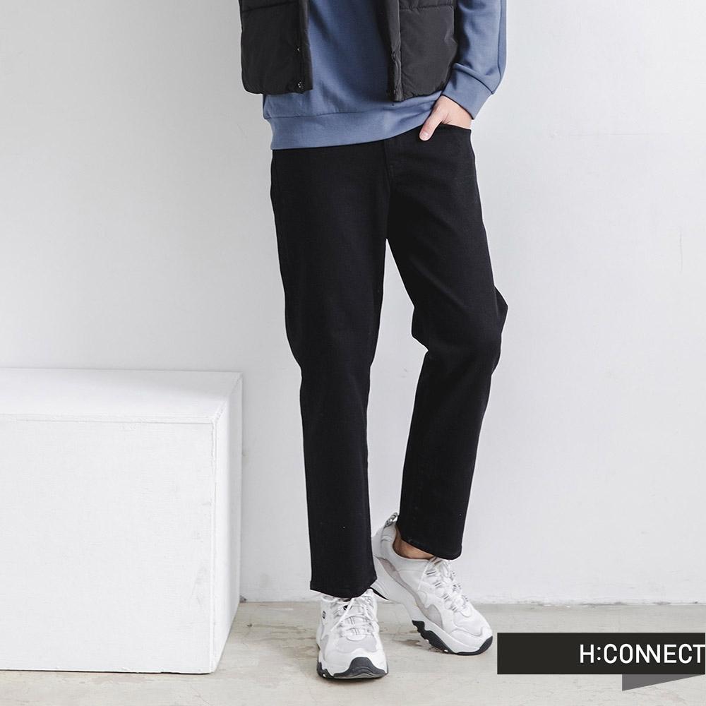 H:CONNECT 韓國品牌 男裝-純色後腰鬆緊微彈牛仔褲