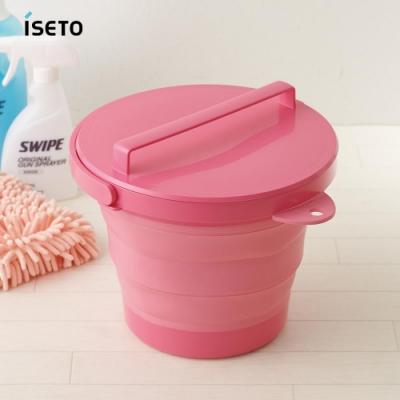 【nicegoods】日本ISETO 伸縮折疊式防滑水桶(附蓋子)-8L