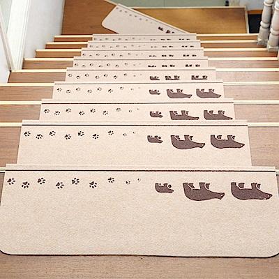 半島良品 可重覆黏貼樓梯止滑墊5入 三隻熊-米色