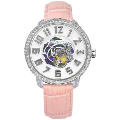 Tendence 天勢表 機械錶自動上鍊珍珠母貝防水真皮手錶-白x粉/48mm