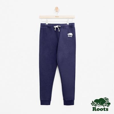 女裝Roots 彩色LOGO七分毛圈布休閒棉褲-藍色
