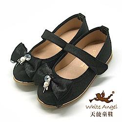 天使童鞋 雪紡蝴蝶公主鞋(中-大童)JU8033-黑