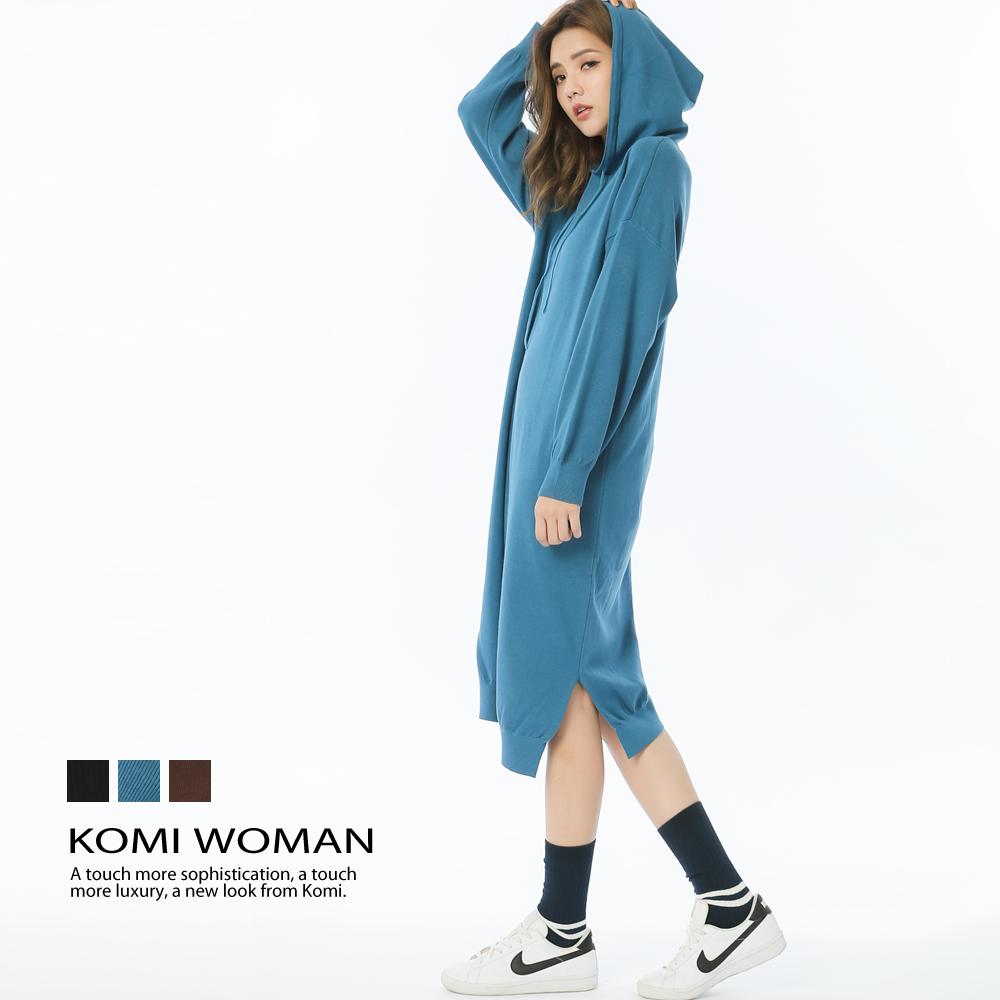 【KOMI】連帽針織混毛長花苞洋裝(三色)