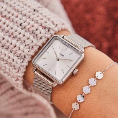 CLUSE La Tetragone 方框腕錶(銀框/銀錶面/銀色不鏽鋼錶帶)28.5mm