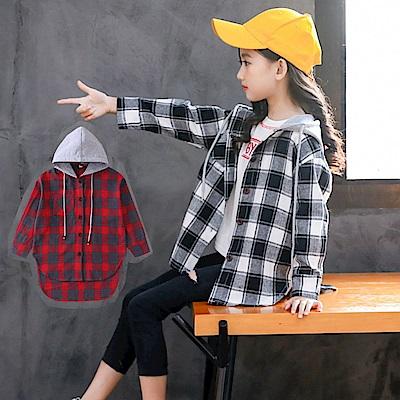 小衣衫童裝 中大童男女百搭連帽格子長袖外套式襯衫