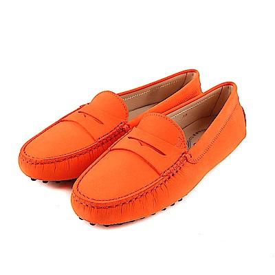 TOD'S Gommino 磨砂小牛皮休閒豆豆鞋(暖橘色)