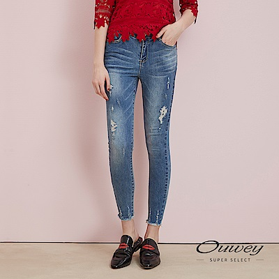 OUWEY歐薇 -10kg超彈力刷破造型牛仔褲(藍)
