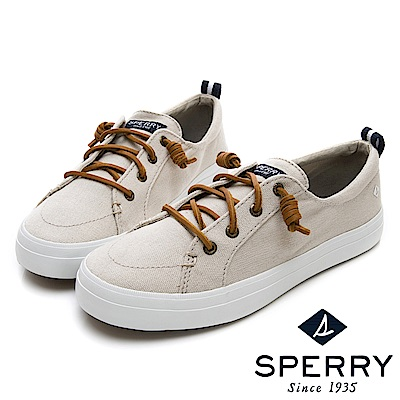 SPERRY 經典復古甜心粉嫩帆布鞋(女)-象牙白
