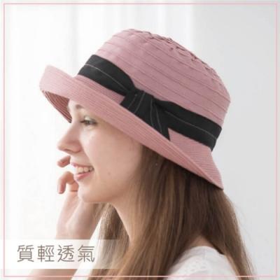 貝柔緞帶捲邊圓帽(2色可選)