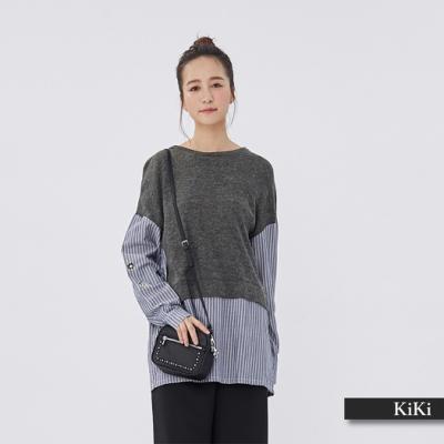 【KiKi】拼接條紋長袖-襯衫(紅色)