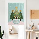 半島良品 聖誕款半開型棉麻門簾 4款任選(附伸縮桿)