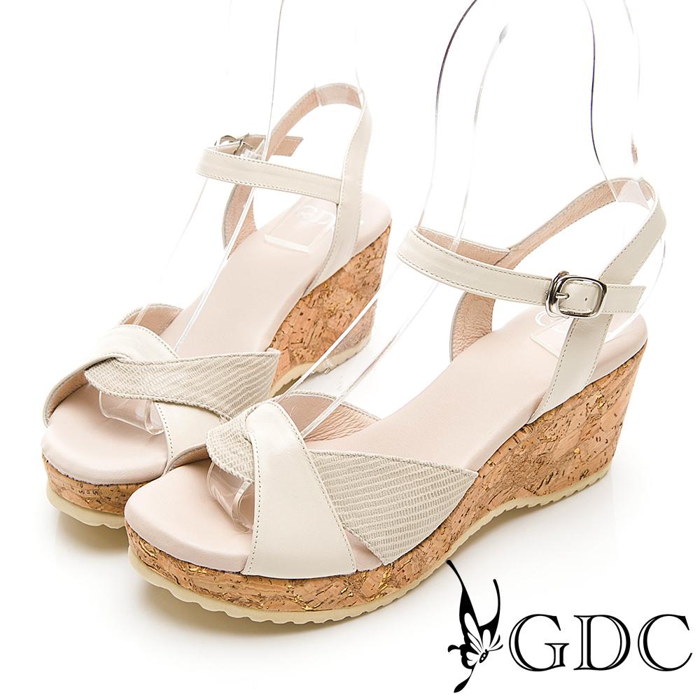 GDC-春夏日系編織拼接木紋楔型交叉涼鞋-米色
