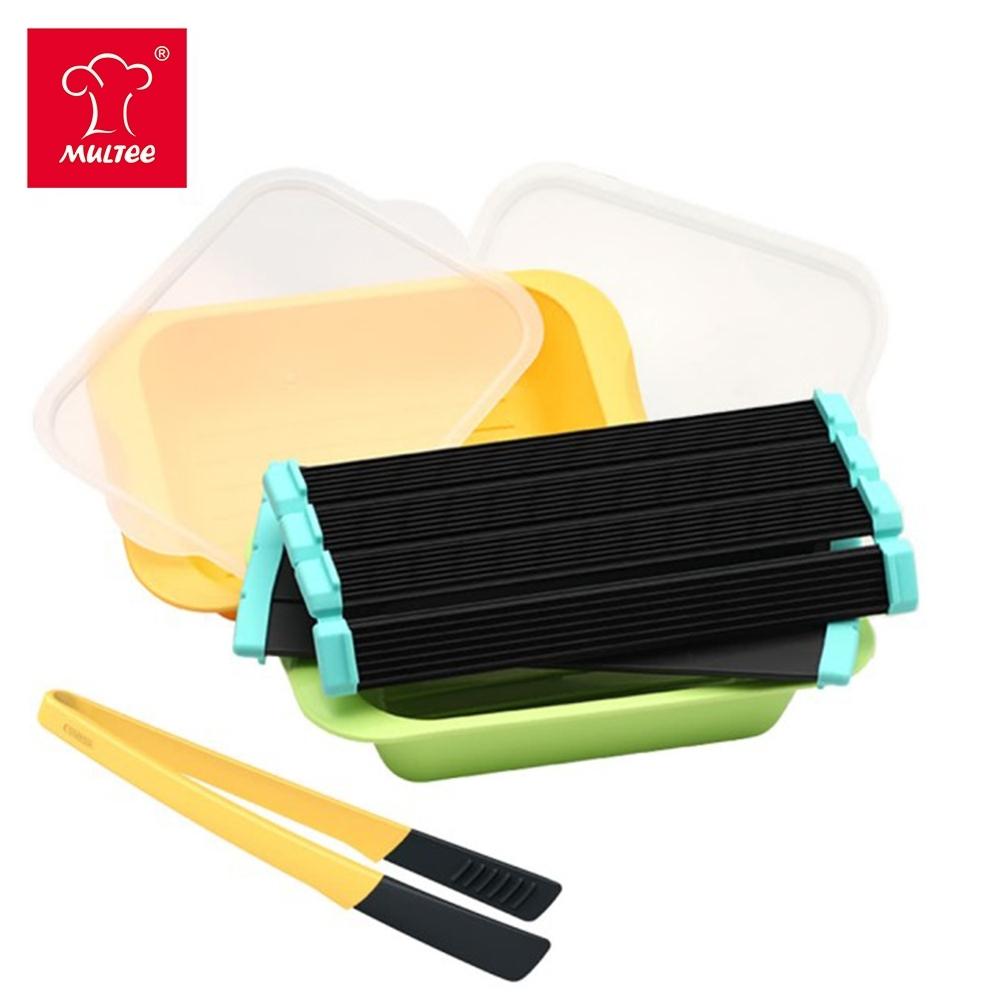 【超值組】MULTEE摩堤 鮮食解凍幫手組(鮮食解凍捲2入+醃漬盒2件+矽晶料理夾)