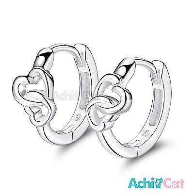 AchiCat 925純銀耳環 心心相印 純銀易扣耳環