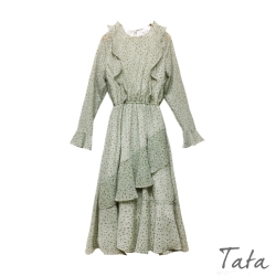 斜荷葉鬆緊腰洋裝 TATA-F