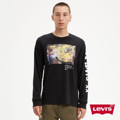Levis 男款 長袖T恤 舊金山漁人碼頭街景 黑