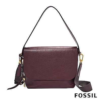 FOSSIL MAYA 柔軟真皮肩背/斜背兩用扁包-棗紅色
