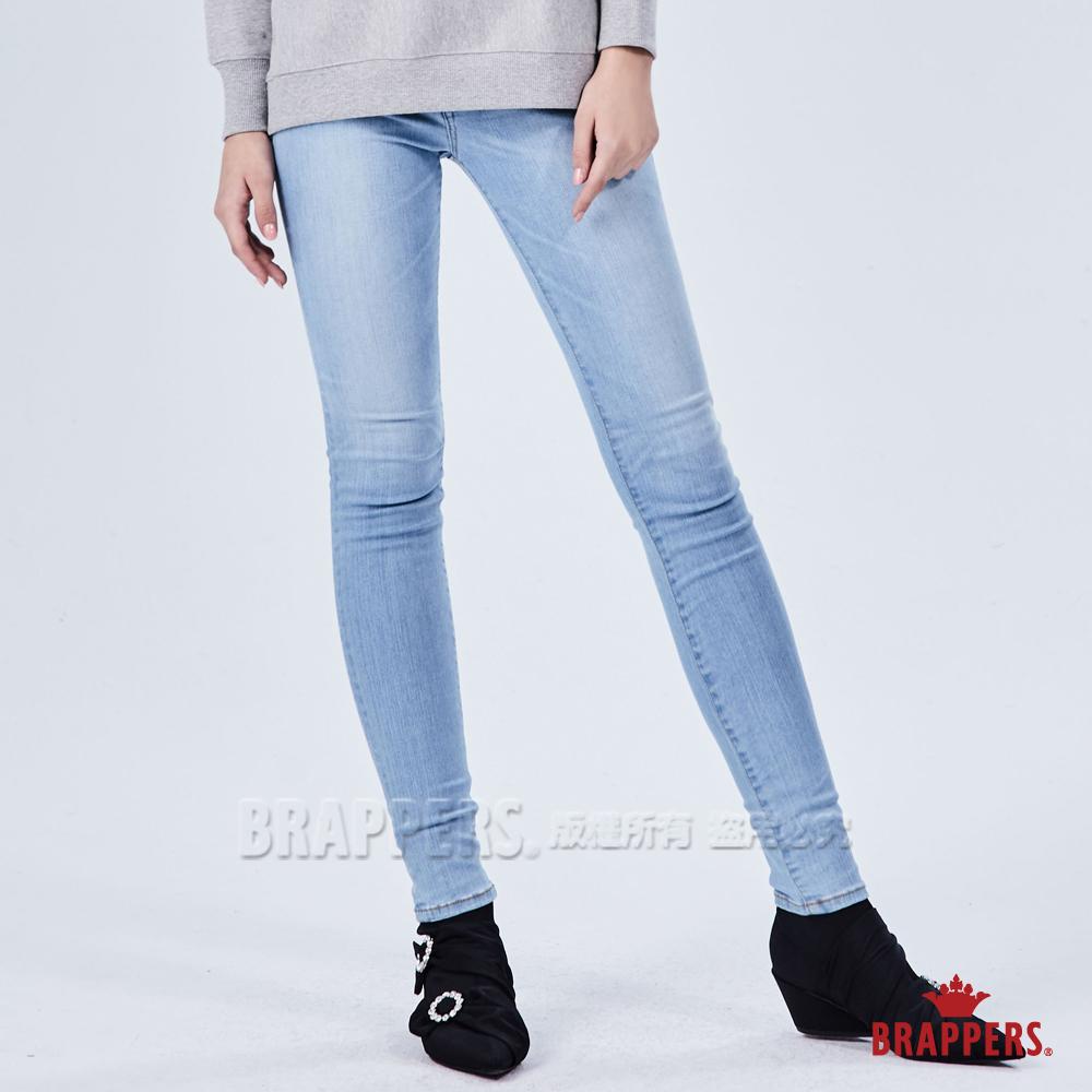 BRAPPERS 女款 新美腳ROYAL系列-中低腰素面彈性窄管褲-藍