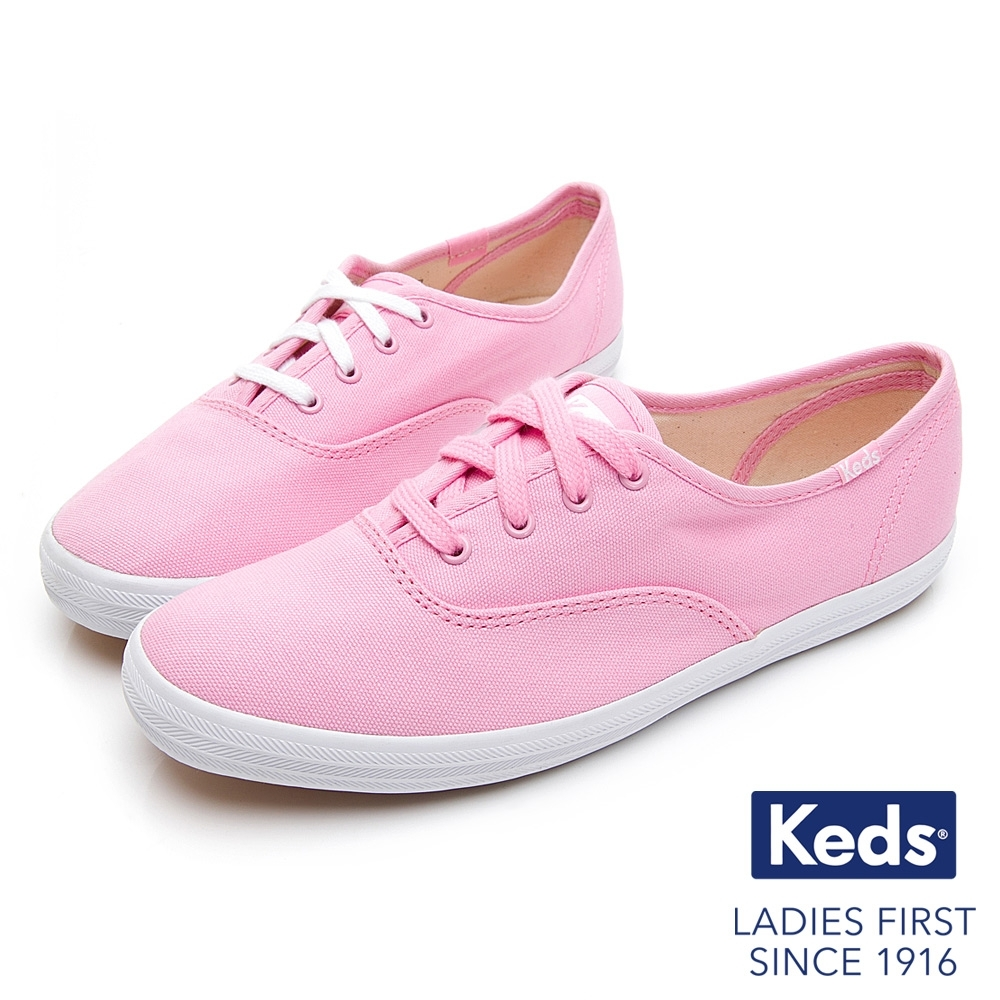 Keds CHAMPION 繽紛活力綁帶帆布鞋-粉紅