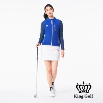 【KING GOLF】搖粒絨毛絨跳色拉鍊無袖背心-藍色