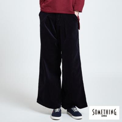 SOMETHING 條絨打摺 休閒寬褲-女-深灰紫