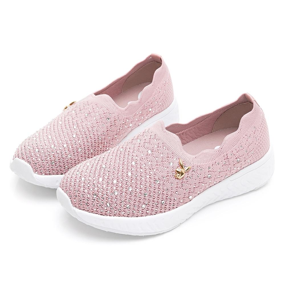 PLAYBOY 銀河美鑽 襪套休閒鞋-粉-Y672999