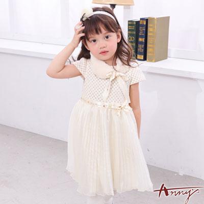 Annys星光高級訂製緞帶金蔥壓紋緞紗禮服*6209米白