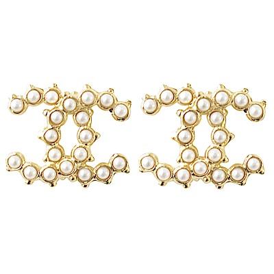CHANEL 珠珠裝飾經典雙C LOGO耳針式耳環(金)