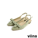viina Basic 素面蝴蝶結後空跟鞋 - 淺綠