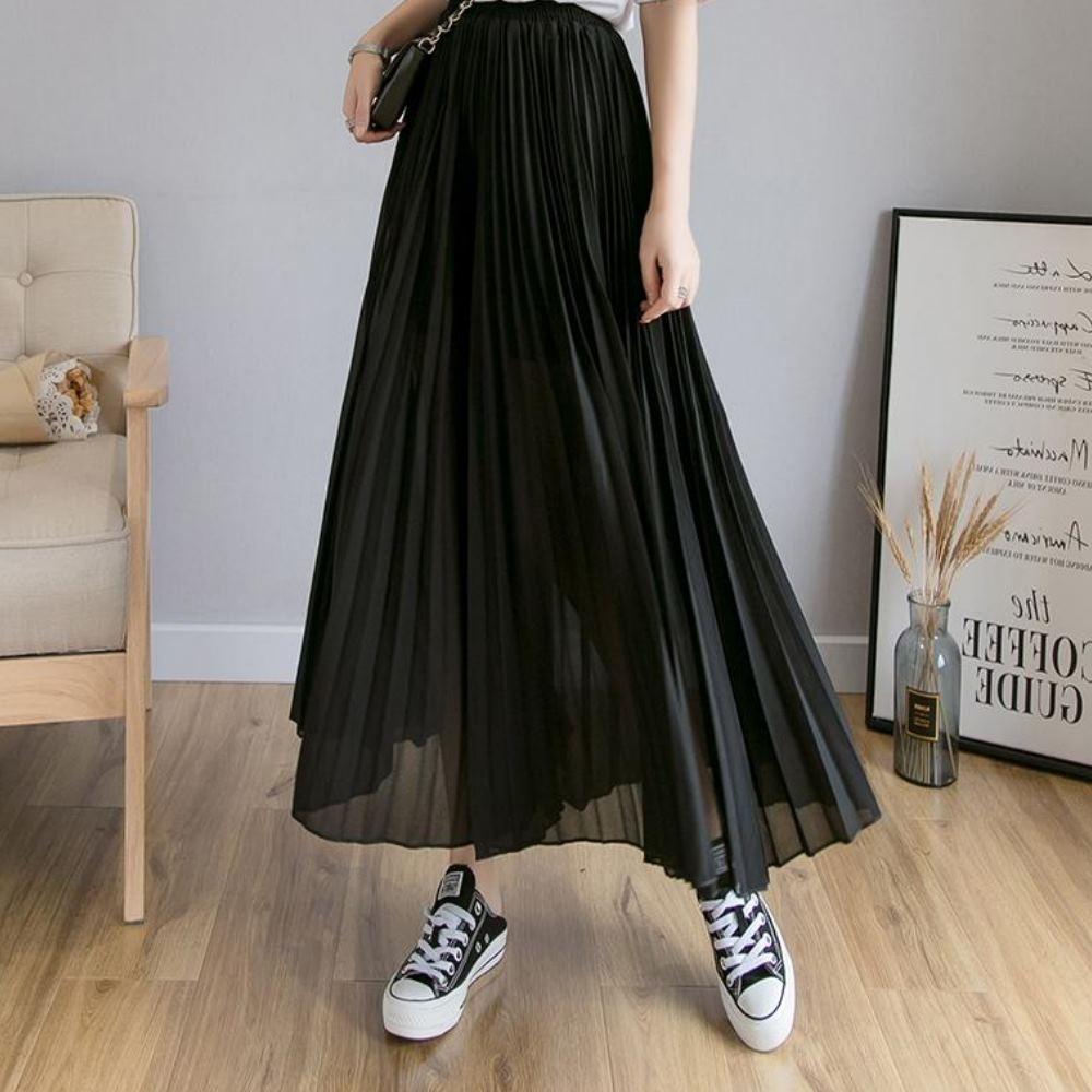 La Belleza素面鬆緊腰高腰垂墬感壓摺雪紡闊腿褲裙 product image 1