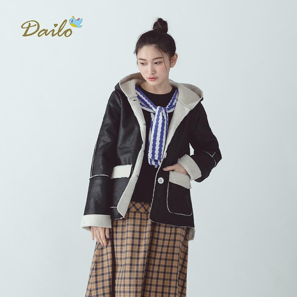 【Dailo】仿皮內裡短毛絨-外套(三色)